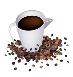 Coffee in measure cup with coffee beans vector