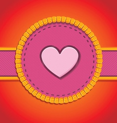 Round patch with heart - vector