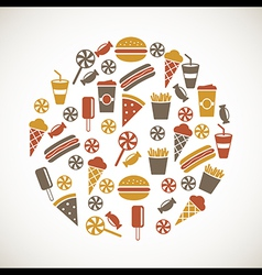 Colorful snack icons vector