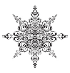 Ornamental black and white snowflake vector