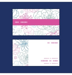 Gray and pink lineart florals horizontal vector