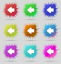 Arrow left way out icon sign a set of nine vector
