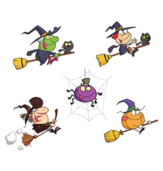 Happy halloween cartoon characters vector