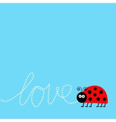 Ladybug ladybird insect dash word love card flat vector