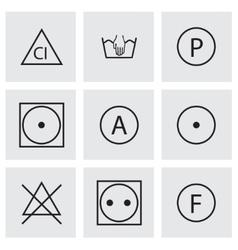 Black washing signs icons set vector