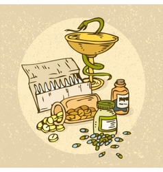 Symbol of medicine bowl with a snake vector