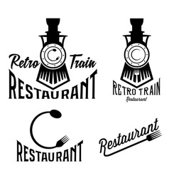 Vintage set of retro train restaurant vector