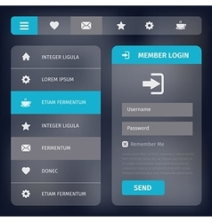 User interface with menu and icons vector