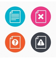 File attention icons exclamation signs vector