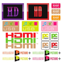 Sticker tv and icon vector