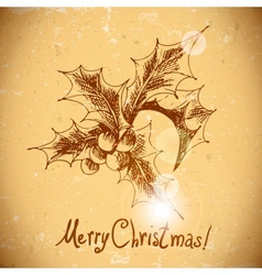 Christmas holly vintage background vector