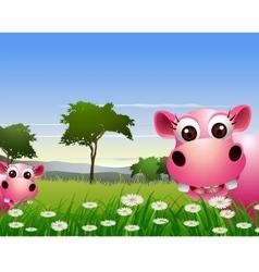 Cute couple hippo cartoon with landscape backgroun vector