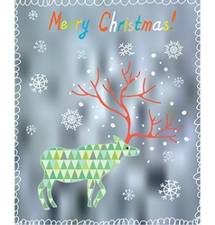 Merry christmas card with ornate deer and snow vector