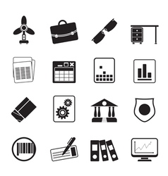Silhouette business and office icons vector