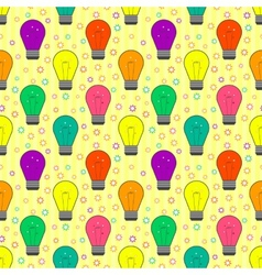 Seamless pattern with light bulb in flat style vector