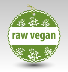 Green raw vegan product stamp tag label vector