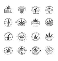 Set of medical marijuana logos cannabis badges vector