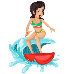 A young lady surfing vector