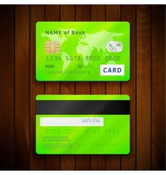 Detailed glossy green credit cards with two sides vector