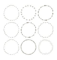 Set of 9 circle cute hand drawn frames vector