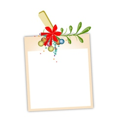 Blank photos with mistletoe hanging on clothesline vector