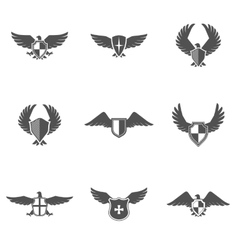 Eagle icon shield set vector