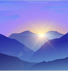 Abstract blue mountains landscape with lens flare vector