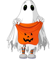 Child in ghost costume vector