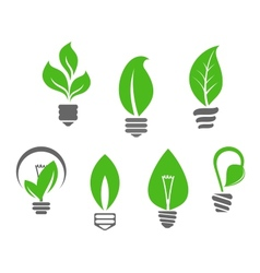 Light bulbs with green leaves vector