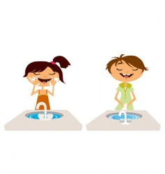 Kids washing face and hand vector
