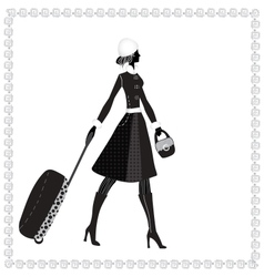 Elegant woman with luggage vector