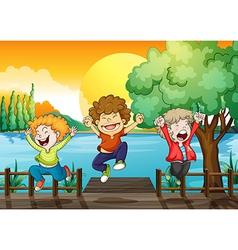 Three happy boys at the wooden bridge vector