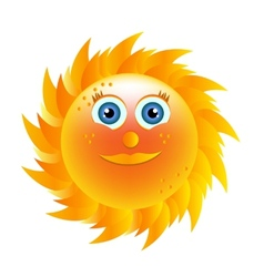 Smiling yellow sun with blue eyes vector