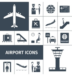 Airport icons black set vector