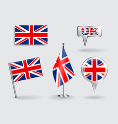 Set of british pin icon and map pointer flags vector