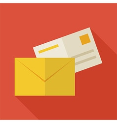 Flat business office mail envelope with long vector