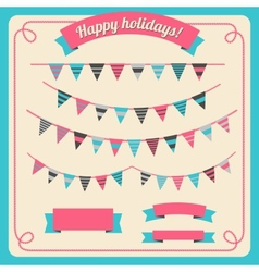 Set of bunting and garland with banners vector
