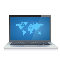 Laptop with world map on screen vector