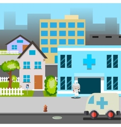 Cartoon street hospital ambulance car doctor vector