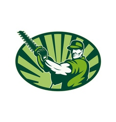 Gardener landscaper hedge trimmer retro vector