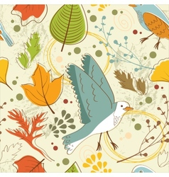 Autumn pattern with leaves and birds vector