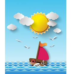 Yacht on sea with sun shine vector