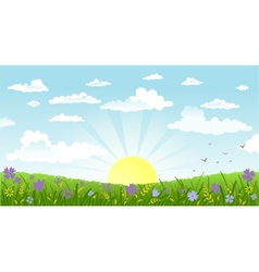 Countryside panorama in the morning vector