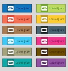 Cassette icon sign set of twelve rectangular vector