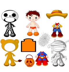 Halloween paper doll boy with costumes vector