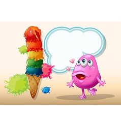 A monster watching the giant icecream vector