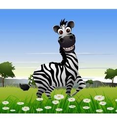 Cute zebra cartoon with nature background vector