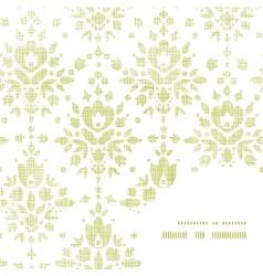 Green textile damask flower frame corner pattern vector