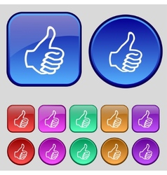 Like sign icon thumb up symbol hand finger-up set vector