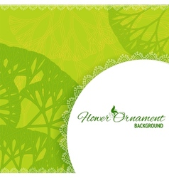 Green retro frame background with abstract trees vector